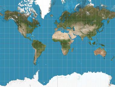 Mapamundi con proyección de Mercator