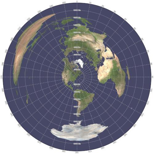 Mapa azimutal equidistante centrado en Nueva York